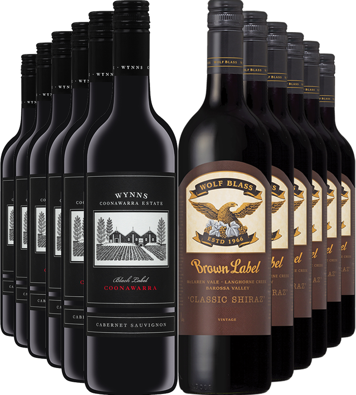 Wynns Black Label Cabernet 2017 + Wolf Blass Brown Label Shiraz 2016